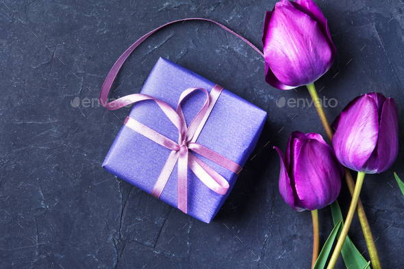 gift and tulip - Stock Photo - Images