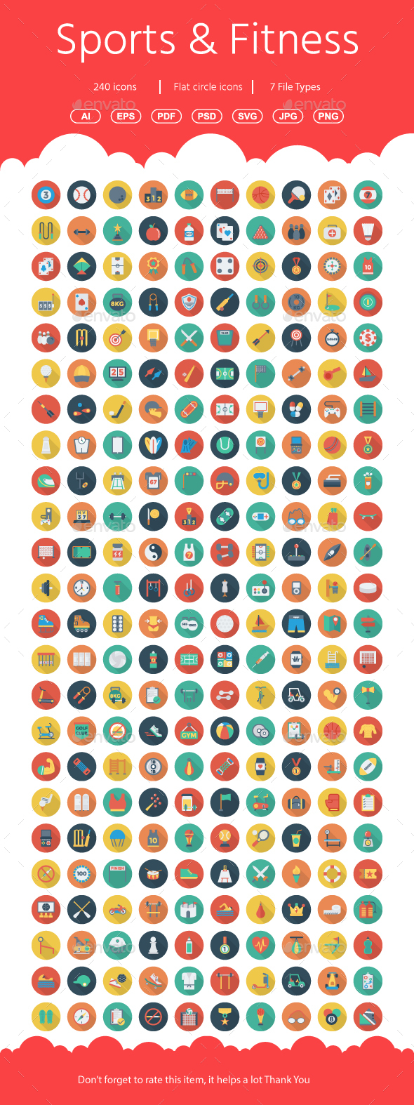 Sports and Fitness Flat Circle icons - Business Icons