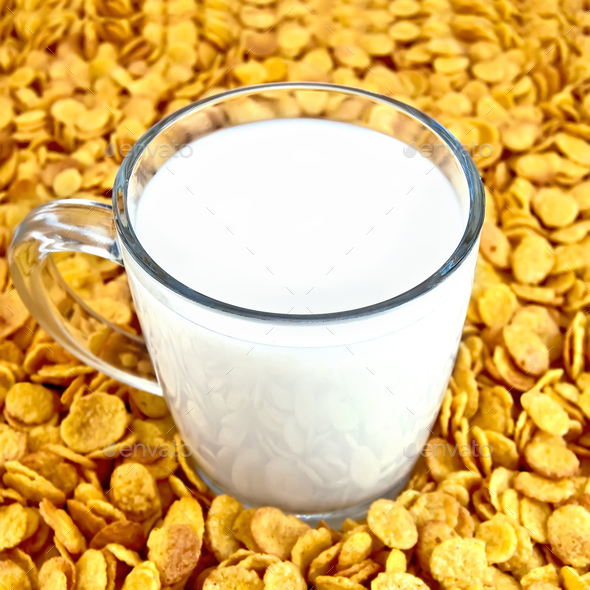 Milk with corn flakes - Stock Photo - Images