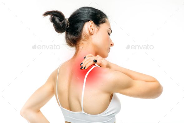Joint pain, woman have problem with neck - Stock Photo - Images