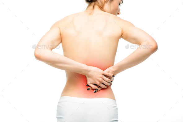 Kidneys pain, female person with backache - Stock Photo - Images