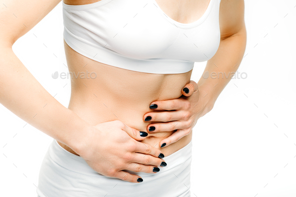 Abdominal pain, female person with stomach problem - Stock Photo - Images