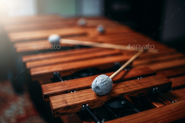 Xylophone closeup, wooden percussion instrument - Stock Photo - Images