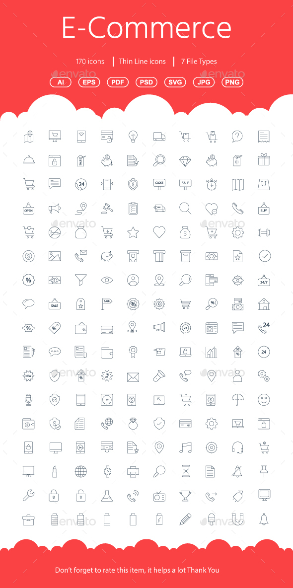GraphicRiver Shopping E-Commerce Line Icons 21110411