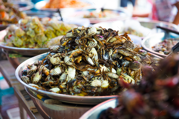 Pickled Crabs For Sale At Local Thai Street Market - Stock Photo - Images