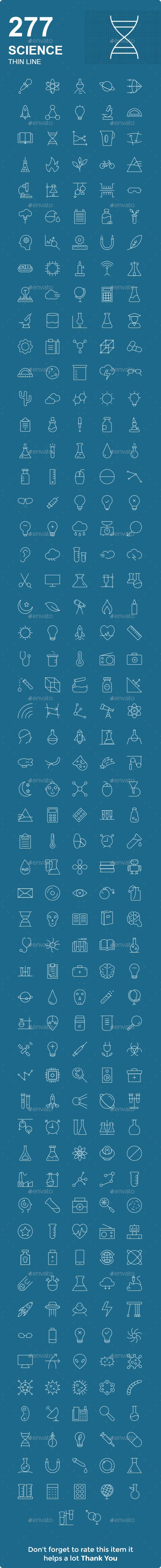 GraphicRiver Science Thin Line Icons 21110422