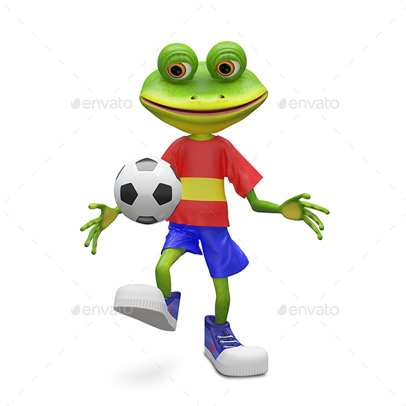 GraphicRiver 3D Illustration Frog Football Player 21110532