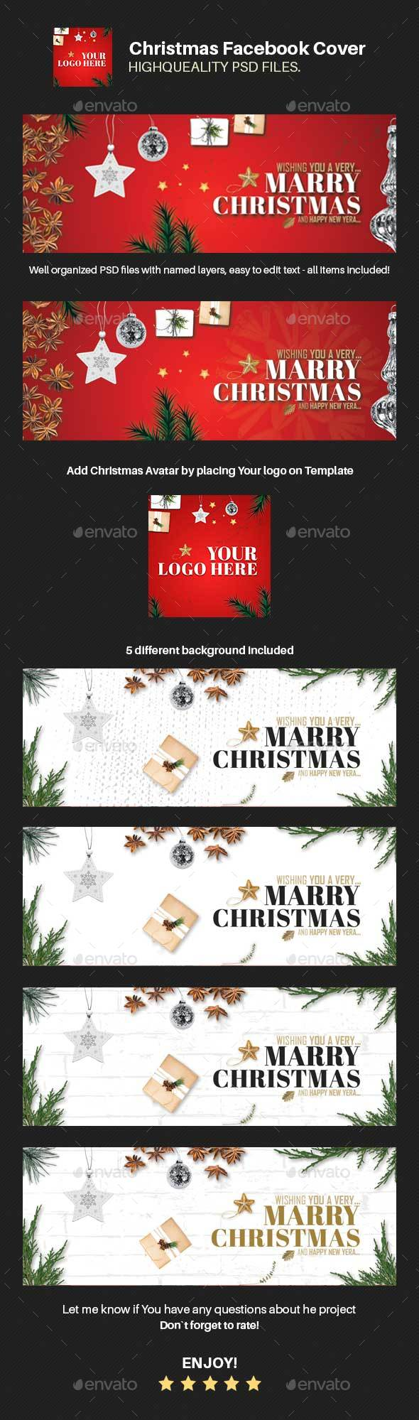 GraphicRiver Christmas Facebook Cover Page 21105433