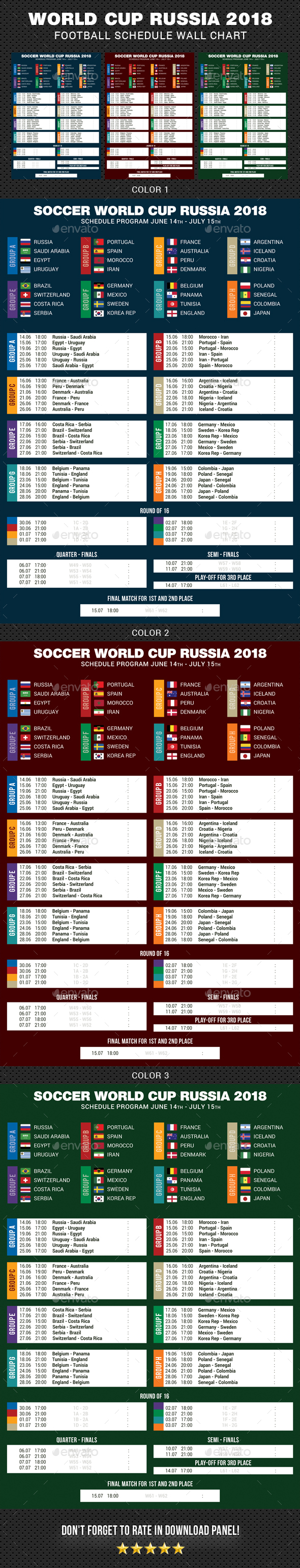 GraphicRiver Football Cup Russia 2018 Schedule 21110552