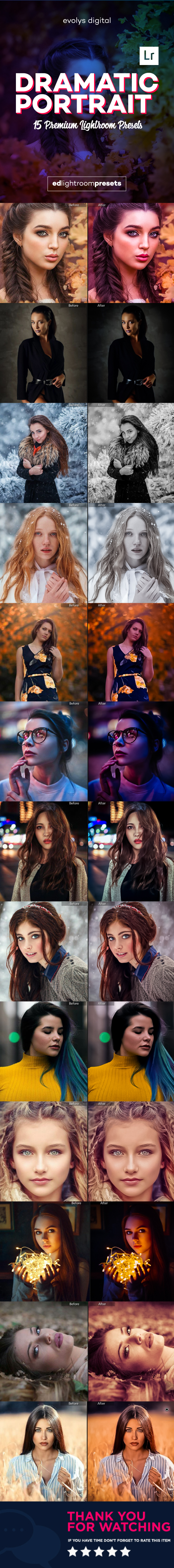 GraphicRiver 15 Dramatic Portraits Lightroom Presets 21110564