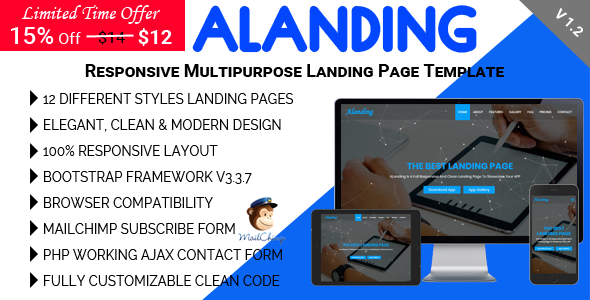 Image of ALanding - Responsive Multipurpose Landing Page Template