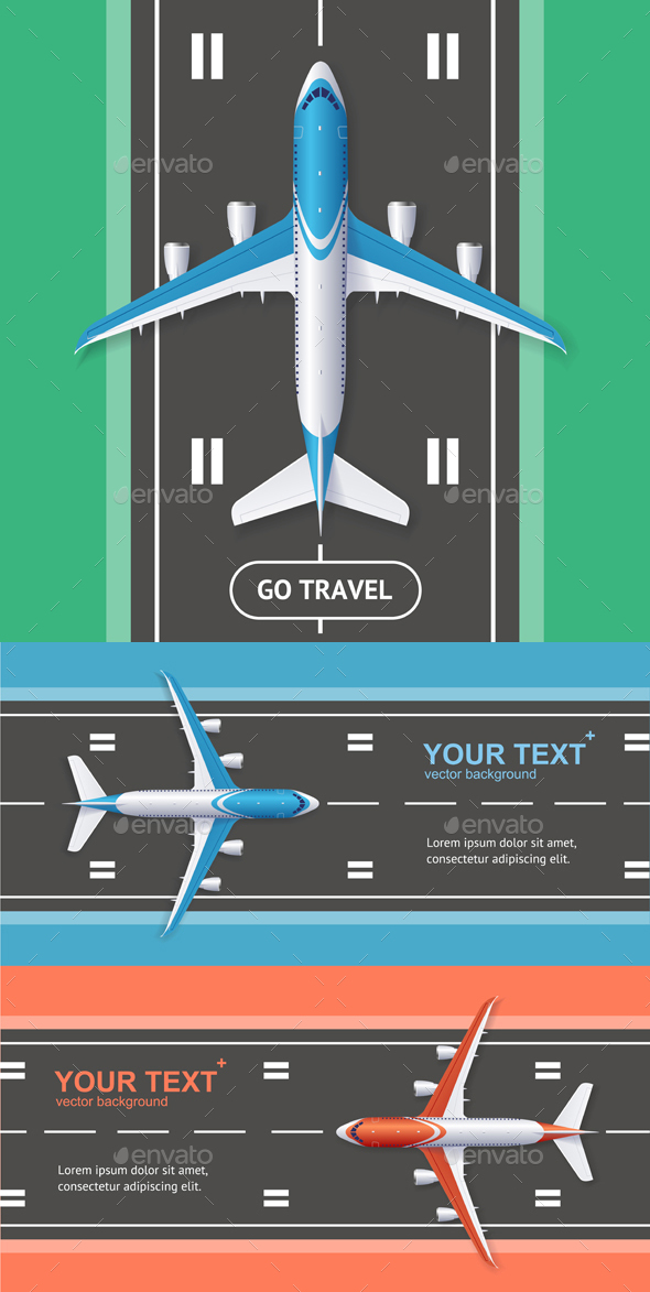 GraphicRiver Airport Plane Runway Travel Concept Flyer Banners Posters Card Set Vector 21110758