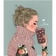 Winter Girl with Coffee Cup