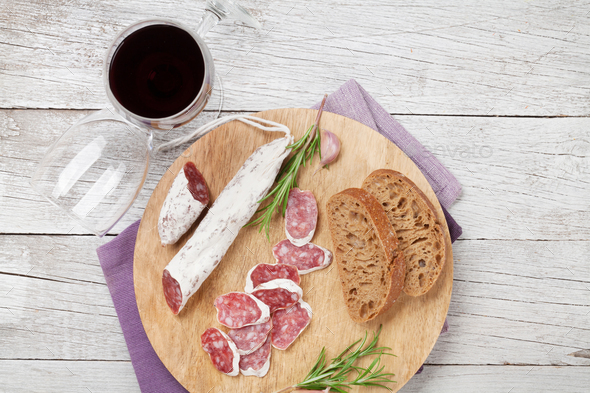 Salami, bread and wine - Stock Photo - Images