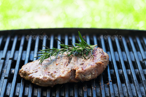 Grilled beef steak with rosemary - Stock Photo - Images