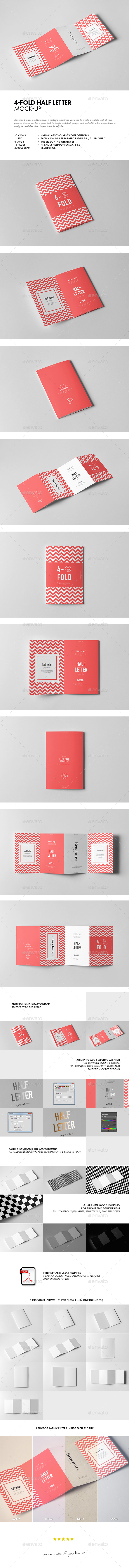 GraphicRiver Four-Fold Half Letter Brochure Mock-up 21110873