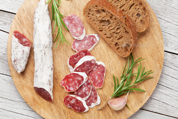 Salami and bread - Stock Photo - Images