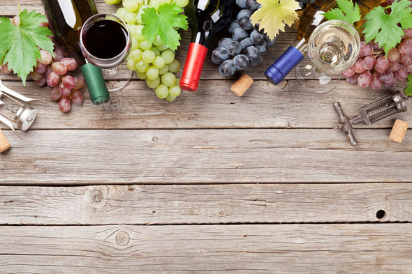 Wine bottles and grapes - Stock Photo - Images