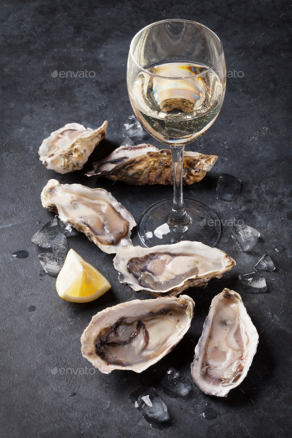 Oysters and wine - Stock Photo - Images