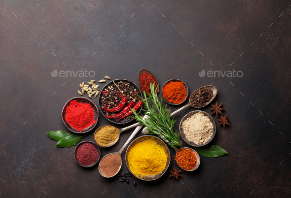 Various spices and herbs - Stock Photo - Images