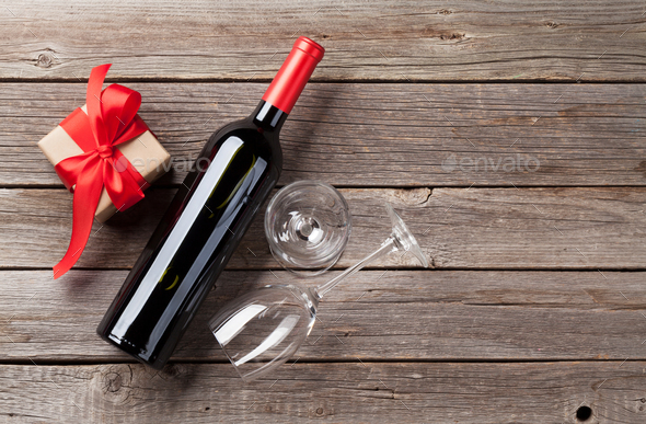 Red wine and gift box - Stock Photo - Images