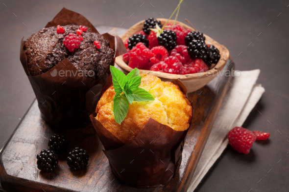 Muffins with berries - Stock Photo - Images