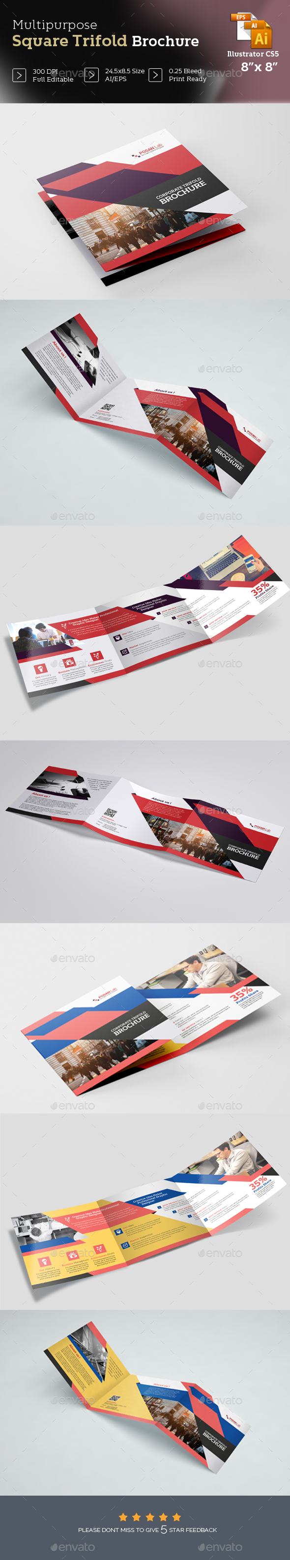 GraphicRiver Professional Square Business Trifold Brochure Template 21110901