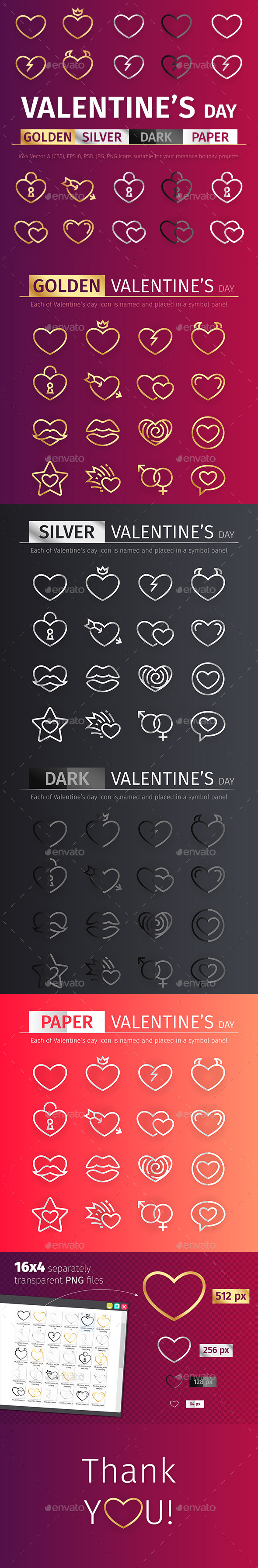 GraphicRiver Golden and Silver Valentine's Day Icons Set 21111109