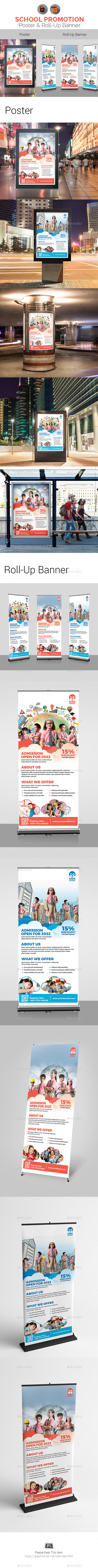GraphicRiver Junior School Promotional Poster & Roll-Up Banner Bundle 21111110