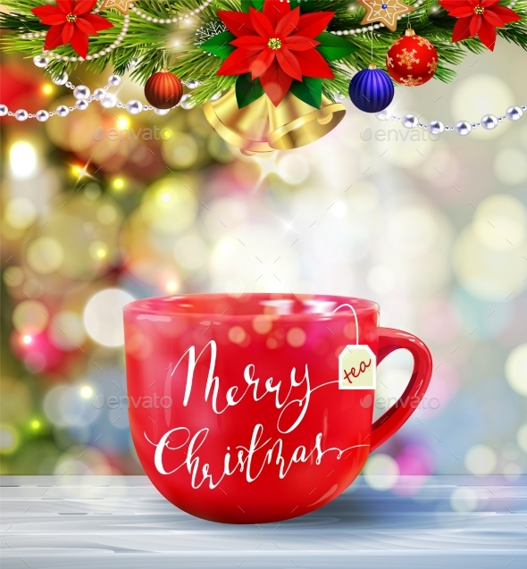 Background with Christmas Tea - Seasons/Holidays Conceptual