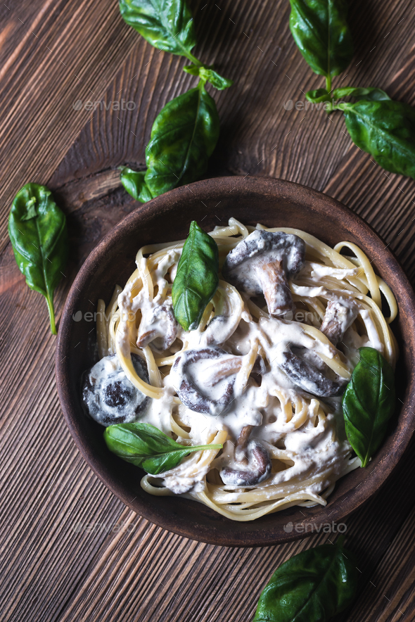 Shiitake pasta - Stock Photo - Images