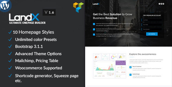 LandX - Multipurpose  Wordpress Landing Page - Marketing Corporate