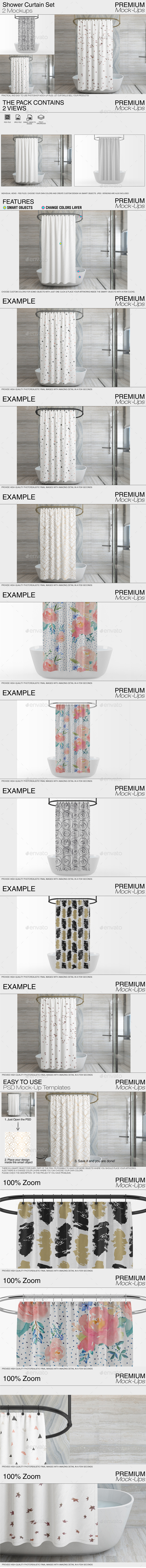 GraphicRiver Shower Curtain Mockup Pack 21111321