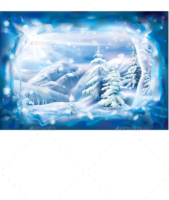 GraphicRiver Winter Snowy Landscape in Frozen Frame 21111377