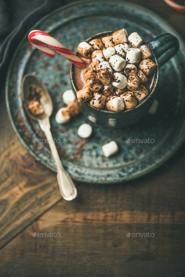 Christmas hot chocolate with marshmallows and candy cane, copy space - Stock Photo - Images