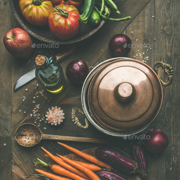 Autumn raw ingredients for Thanksgiving day dinner preparation, square crop - Stock Photo - Images