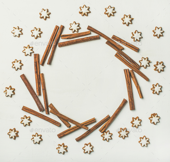 Christmas wreath made from cookies and cinnamon sticks, copy space - Stock Photo - Images