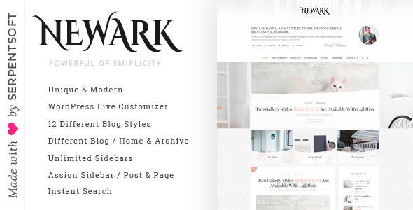Newark - Writing and Personal Blog WordPress Theme