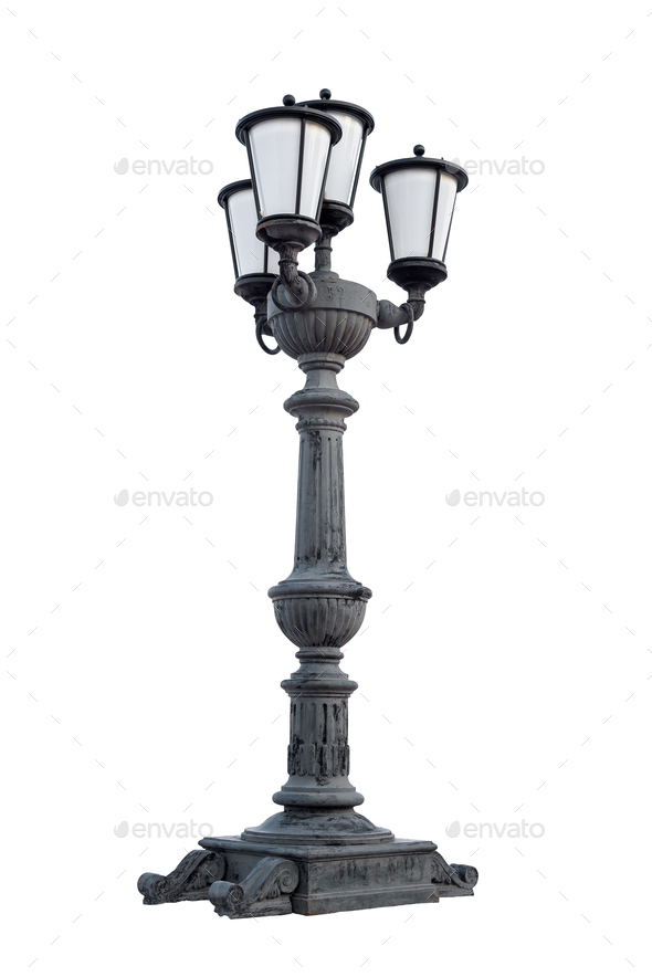 Street lantern on white background - Stock Photo - Images