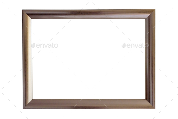 Brown picture frame on white background - Stock Photo - Images