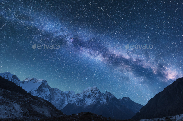 Milky Way and mountains in Nepal - Stock Photo - Images