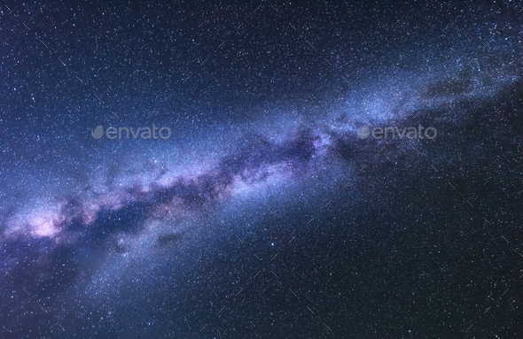 Milky Way. Fantastic night landscape with bright milky way - Stock Photo - Images