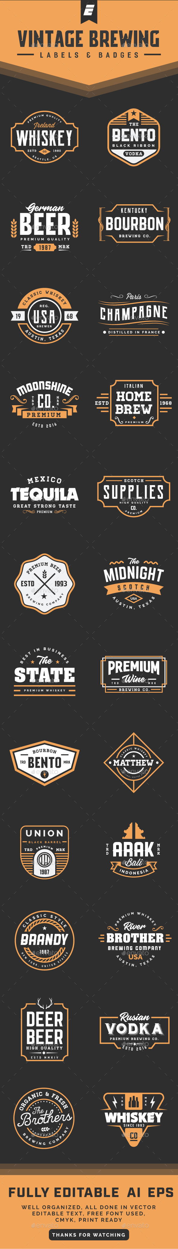 GraphicRiver Vintage Brewing Label and Badges 21106222
