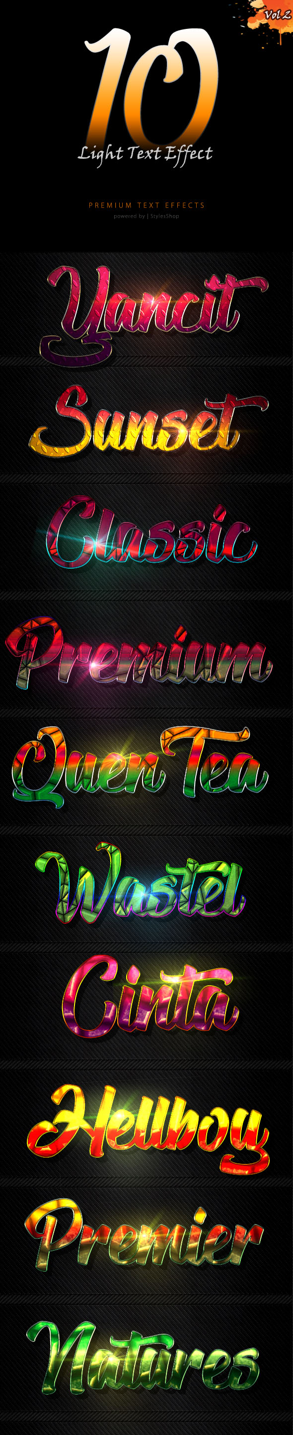 Light Text Effect Styles vol 2 - Text Effects Styles