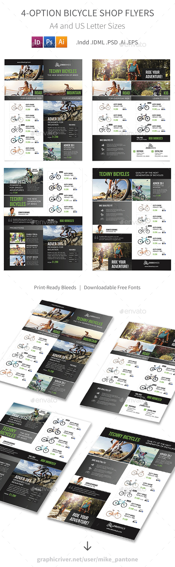 GraphicRiver Bicycle Shop Flyers 4 Options 21112067