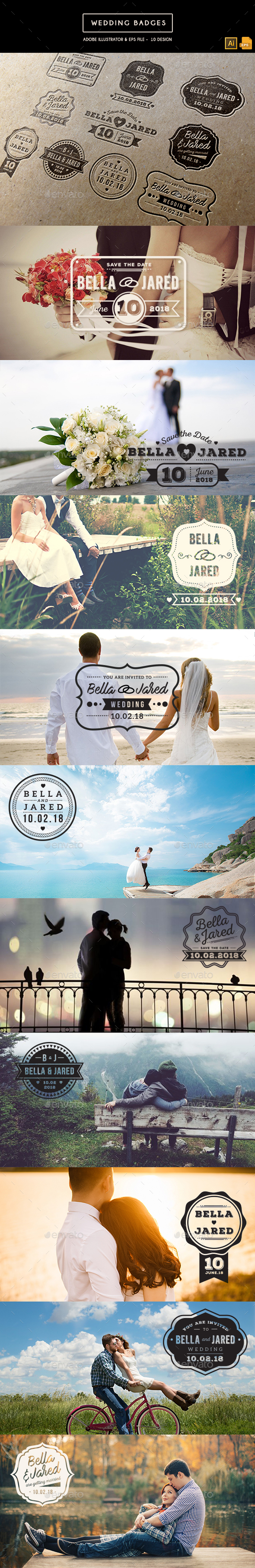 Wedding Badges - Badges & Stickers Web Elements