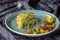 Zucchini Pancakes With salad at blue plate  - PhotoDune Item for Sale