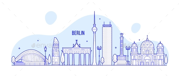 Berlin Skyline Germany City Buildings Vector - Buildings Objects