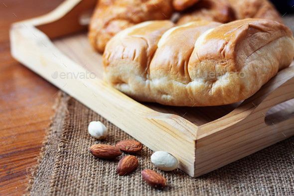 Bread on wooden - Stock Photo - Images