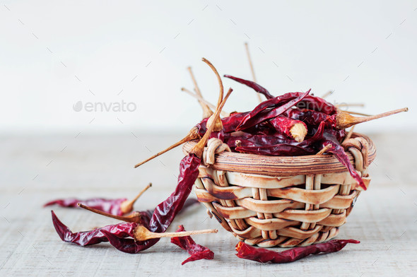 Dried chili on wooden - Stock Photo - Images